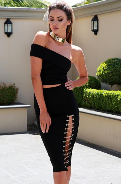 Kenza Chain Skirt – Black 1