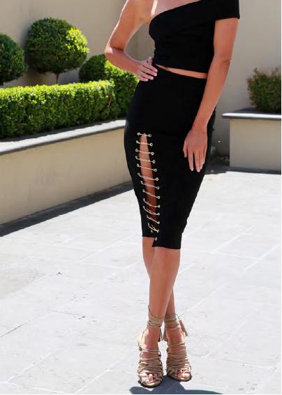 Kenza Chain Skirt – Black 2