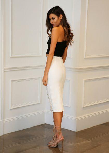 Kenza Chain Skirt – White 3