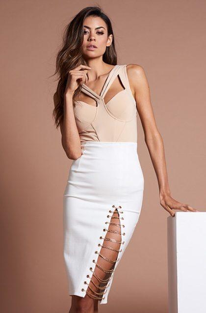 Kenza Chain Skirt – White 4