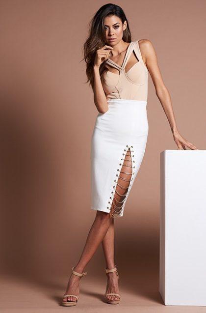 Kenza Chain Skirt – White 5