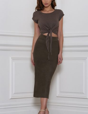 Rhythm Suede Skirt - Khaki 1
