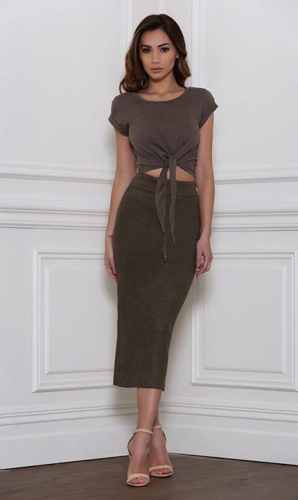 Rhythm Suede Skirt – Khaki 1