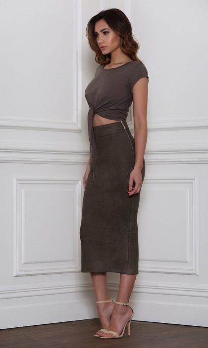 Rhythm Suede Skirt – Khaki 2