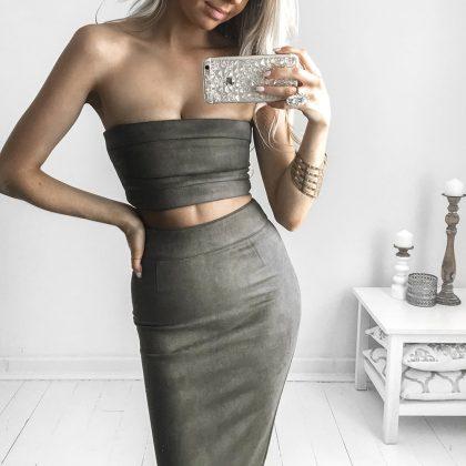 Rhythm Suede Skirt – Khaki 5
