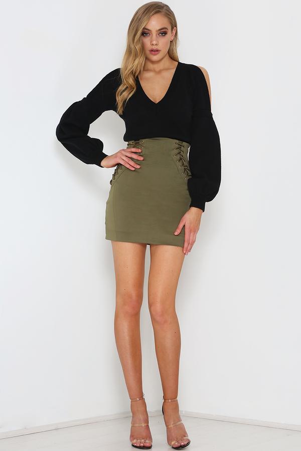 e785509ba99029 Assemble Mini Skirt – Khaki – Goddess Kleopatra