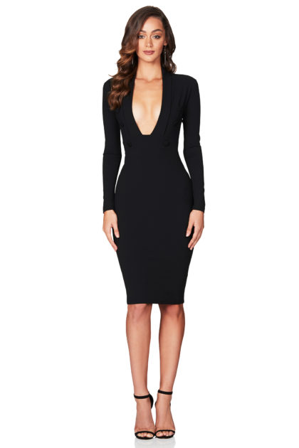 LOPEZ-LONG-SLEEVE-MIDI-BLACK-F