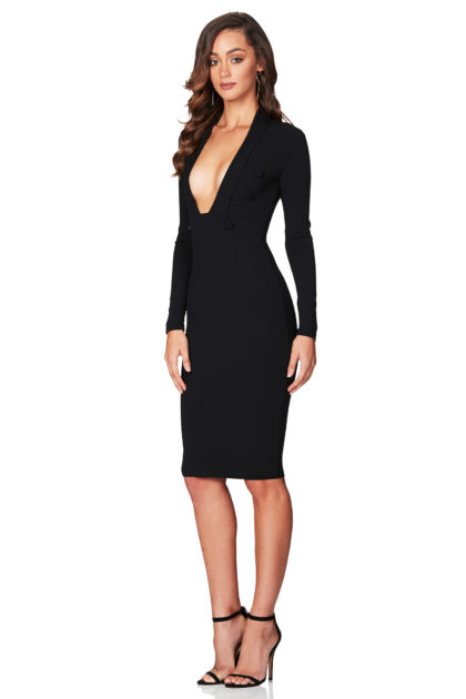 LOPEZ-LONG-SLEEVE-MIDI-BLACK-S
