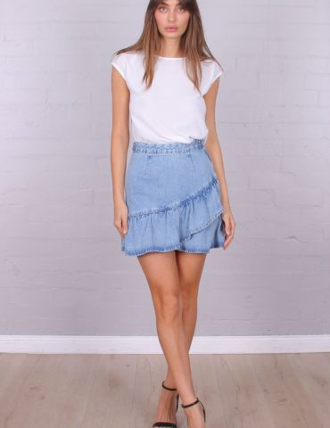 T3032 RUFFLE DENIM SKIRT DENIM BLUE 1