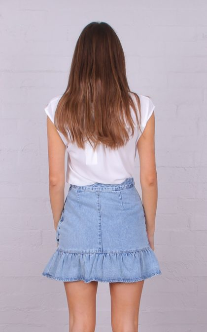 T3032 RUFFLE DENIM SKIRT DENIM BLUE 3