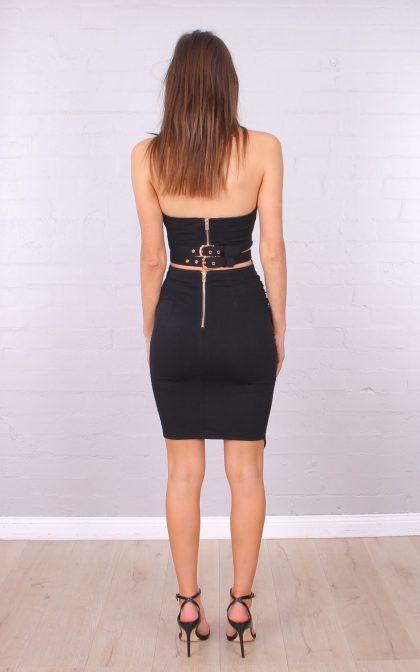 TL10113 $27.50 ASYMMETRICAL BOOBTUBE DRESS BLACK 3